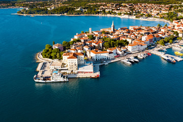 Beautiful aerial view and landscape of the sea coast city and buidings by the sea