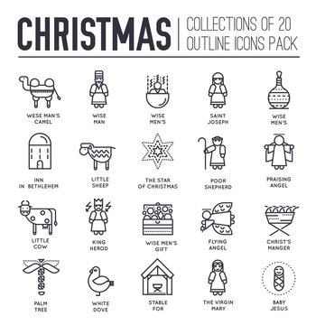 Set of Christmas attributes and decoration icons.