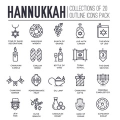 Set of hanukkah decor and attributes thin line icons.