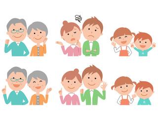 六人家族の表情色々1頭身OK