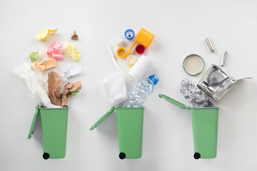 top view of trash bins and sorted garbage on grey Wall mural
