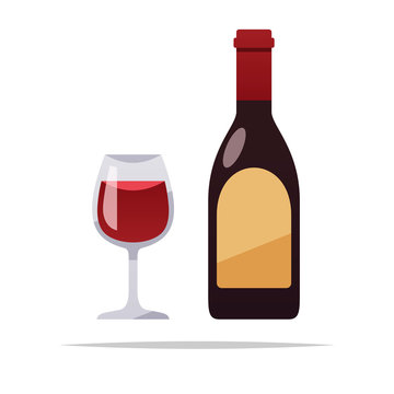 Bottle of wine and glass vector isolated illustration