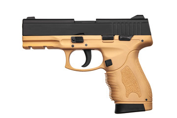 Black brown gun pistol isolated on white back