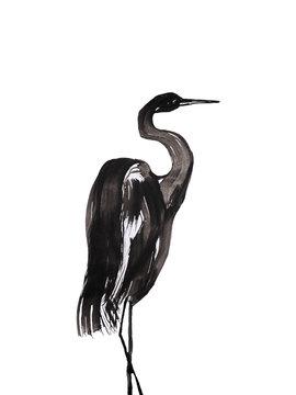 bird graphics on white background, graphic crane or heron wallpaper
