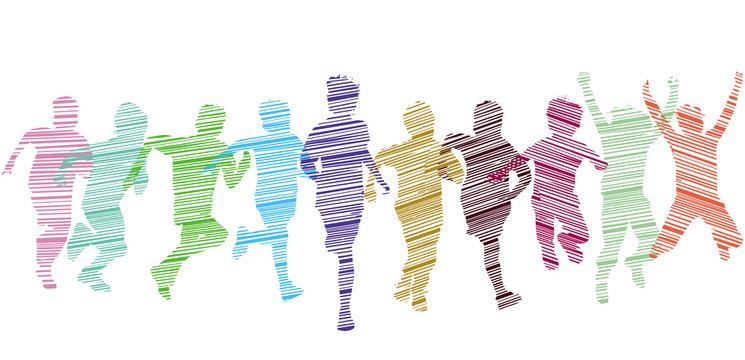 eine Gruppe von Kind laufen und haben Freude, Illustration-Isoliert