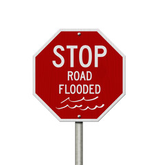 Stop road flooded red USA road sign