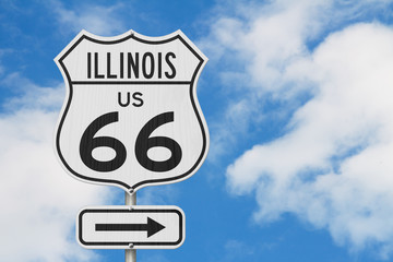 Illinois US route 66 road trip USA highway road sign Wall mural