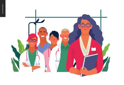 Medical insurance illustration -hospital administrator -modern flat vector concept digital illustration - a female hospital administrator with a team of doctos concept, medical office or laboratory