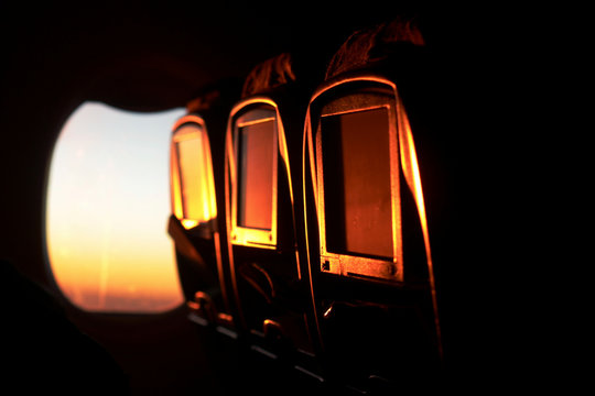 Morning view and sunrise from an airplane window