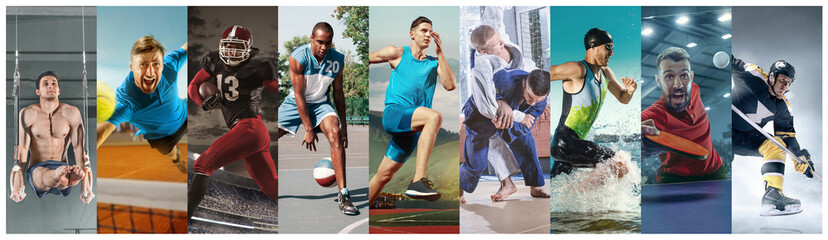Creative collage made of photos of 10 models. Tennis, running, badminton, triathlon, basketball, hockey, american football, rugby players in action. Concept of sport, motion, healthy lifestyle.