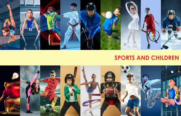 Creative collage made of photos of 17 caucasian models. Childrens in sport and healthy lifestyle. Hockey, gymnastick, badminton, football, soccer, tennis, figure skating, athletics, taekwondo.