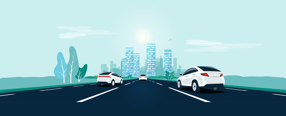 Poster Cartoon cars Traffic on the highway panoramic perspective horizon vanishing point view. Flat vector cartoon style illustration urban landscape street with cars, skyline city buildings and road going to the city.