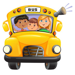 Yellow bus with kids