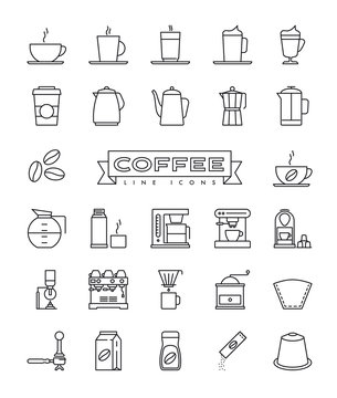 Coffee line icons collection