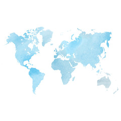 Fototapete - Blue watercolor map of World. Vector illustration