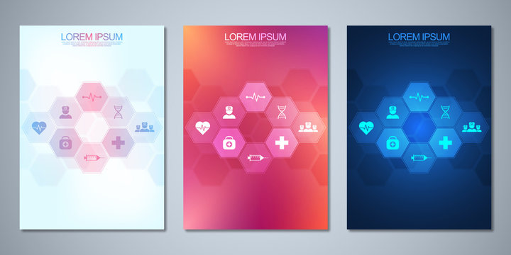 Template brochure or cover design, book, flyer, with medical icons and symbols. Healthcare, science and medicine technology concept.
