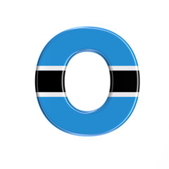 Botswana flag letter O - Large 3d Batswana font - suitable for Africa, Gaborone or politics related subjects