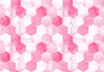 Hand drawn seamless pattern pink marble honeycombs watercolor