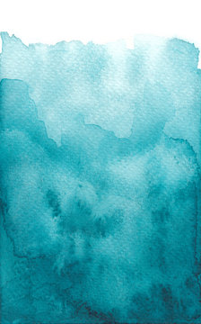 Hand drawn watercolor wash vibrant blue teal background