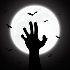 Scary Halloween night design with zombie hand pictures
