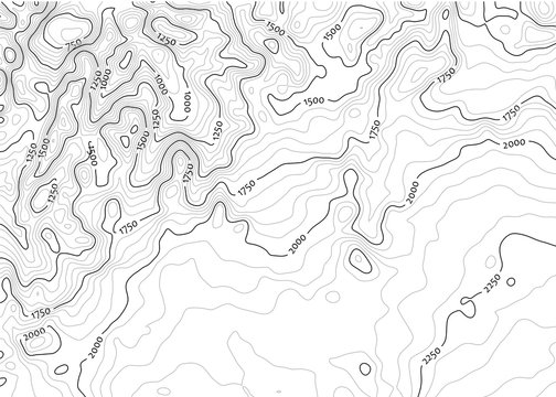 Contour topo map in black/white with labels