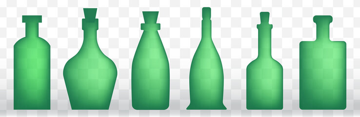 Set of old retro wine bottle icons or vintage bottles silhouettes