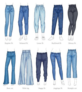 Set of female jeans models and their names sketch style