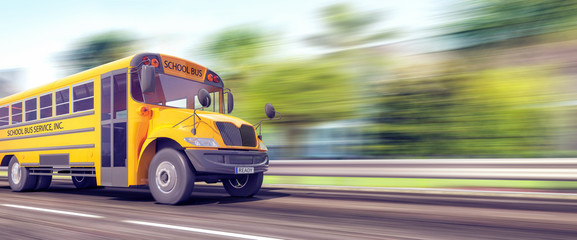 School bus in a hurry for the beginning of the school year 3D Rendering
