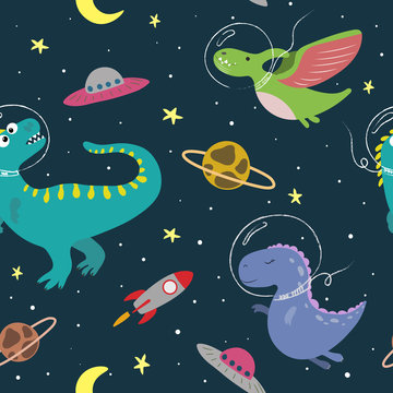Hand drawn seamless pattern with cute dinosaurs in space.  Great design for kids apparel, nursery decoration, fabric, textile. Cute and colorful dino design vector illustration.