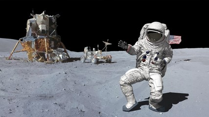 3D rendering. Dancing of Astronaut on the moon.. CG Animation. Elements of this image furnished by NASA.