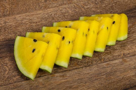 Sliced sweet tasty yellow watermelon