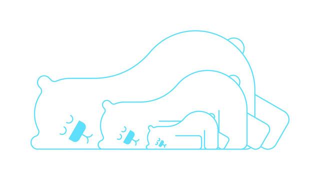 Polar bear family is asleep. Beast is sleeping. vector illustration