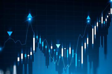 Blue digital graphs and bar charts Wall mural