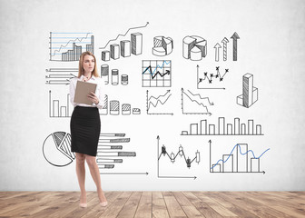 Blonde woman with notebook, business infographics