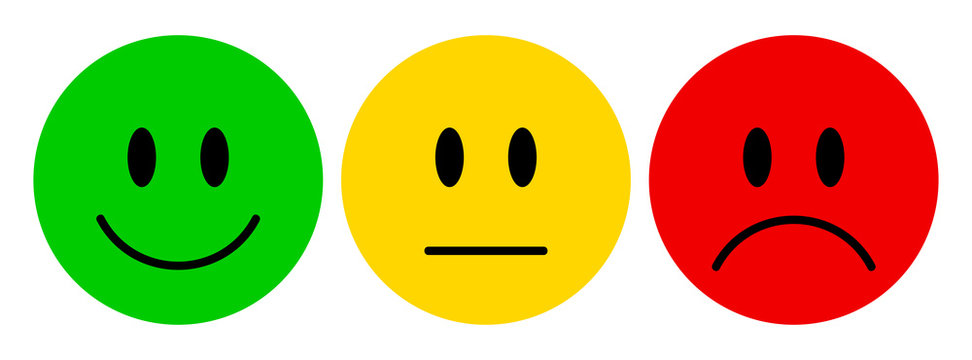 Vector illustration of facial expressions - smiley icon set. Emoticons positive, neutral and negative (red, yellow and green different moods). Rating smile for customer opinion.