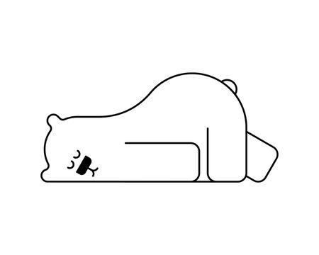 Polar bear asleep. Beast is sleeping. vector illustration