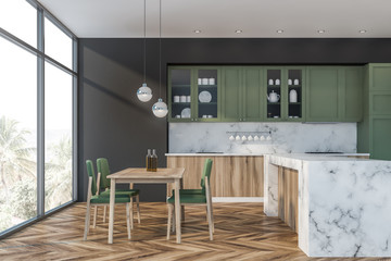 Green and gray kitchen, counter and table