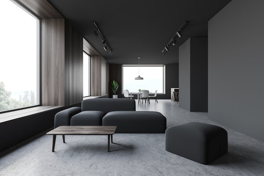 Gray living room and dining room interior