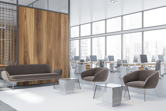 Wooden office waiting room corner
