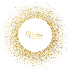Vector gold sparkles on white background. Gold glitter circle. Frame with glitter for logo, icon, vip card, certificate, gift voucher