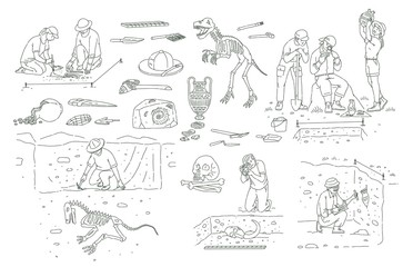 Set of archeology tools and people working on excavation outline sketch style