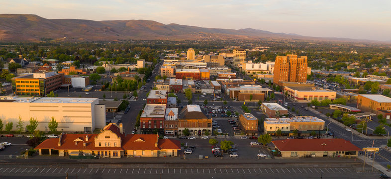 Sunset Bathes Downtown Yakima Washington in Golden Light