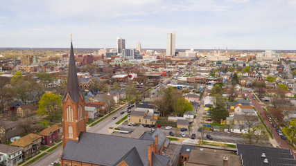 Fotomurales - Aerial Perspective Over The Urban City Center Skyline in Fort Wayne Indiana