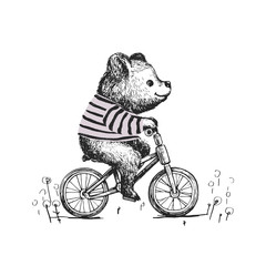 Cute baby boy bear riding a bicycle . Animal illustration. Can be used for kid's or baby's shirt design. fashion print design, fashion graphic, t-shirt, kids wear