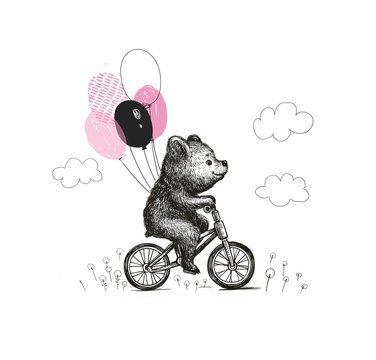 Cute baby boy bear with the balloons riding a bicycle . Animal illustration. Can be used for kid's or baby's shirt design. fashion print design, fashion graphic, t-shirt, kids wear