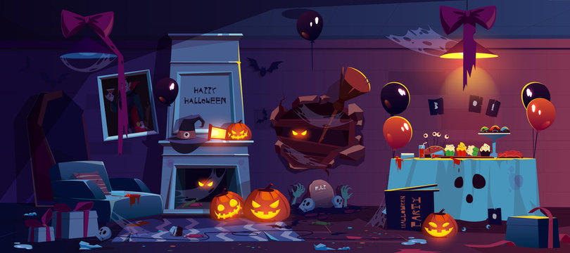 Abandoned room with Halloween decoration and after party mess, scary empty interior with cobweb, scattered garbage, broken holiday accessories and food scraps on floor, Cartoon vector illustration