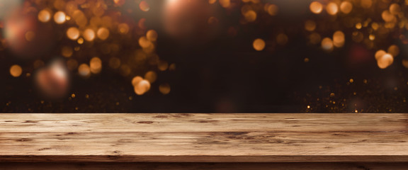 Abstract bokeh background with old table