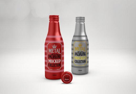 2 Metal Beverage Bottles Mockup