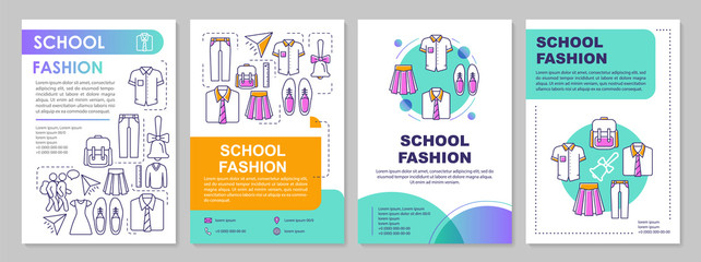 School uniform brochure template layout. Pupils clothes. Flyer, booklet, leaflet print design with linear illustrations. Vector page layouts for magazines, annual reports, advertising posters