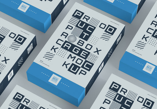 Product Box Mockups on Gray Background